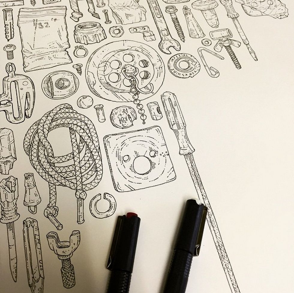 Artist Creates Moving Tribute by Hand-Drawing Every Single Item in His Late Grandfather's Tool Shed