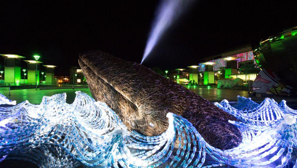 Installation Turns 70,000 Upcycled Plastic Bottles Into Illuminated Ocean