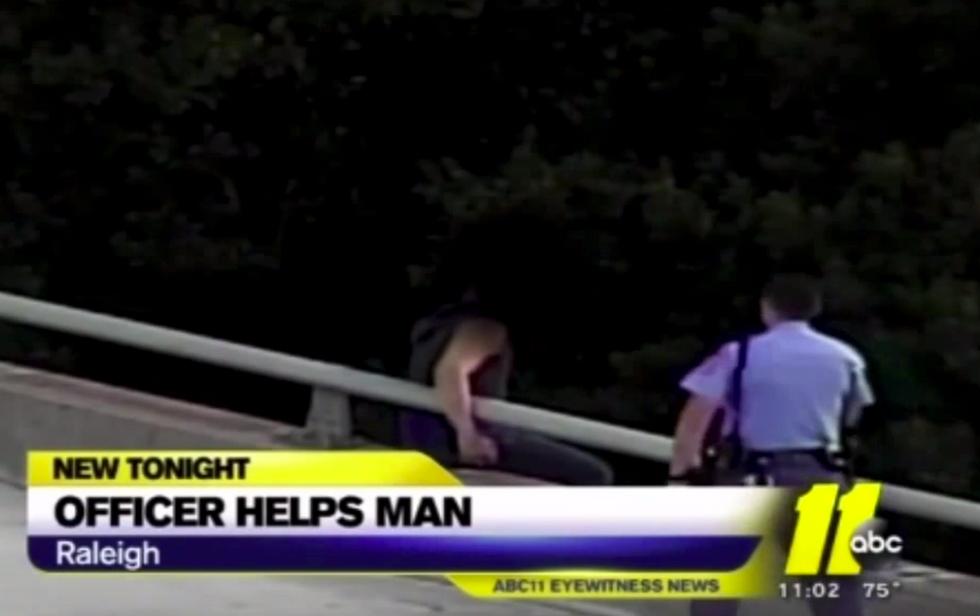 Police Officer Talks Man Down From Bridge; Gives Him a Hug.