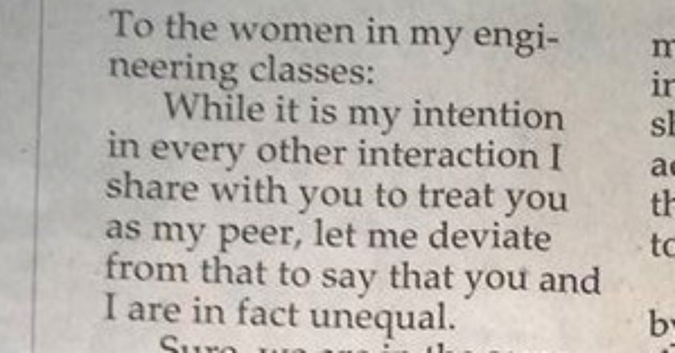 Male engineering student pens letter explaining why female classmates aren't his equals.