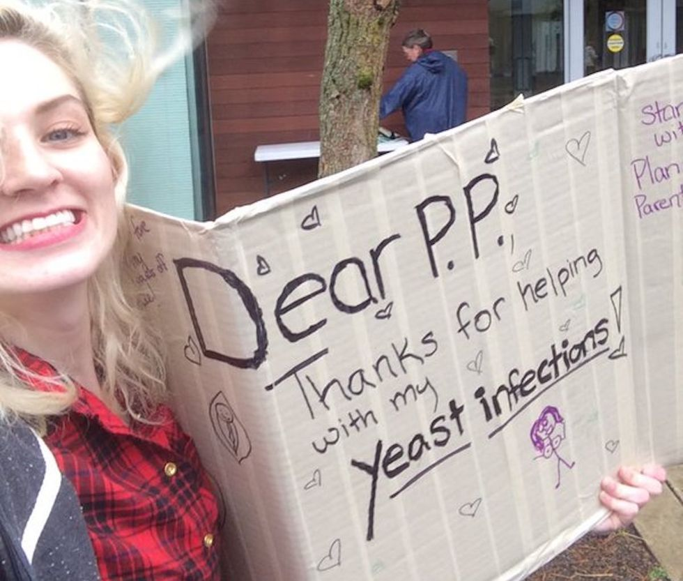 One-Woman 'Yeast Infection'Protest Scares Away Anti-Planned Parenthood Demonstrators