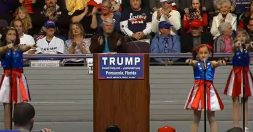 Group of Young Girls Dubbed 'Freedom Kids' Sing at Recent Trump Rally