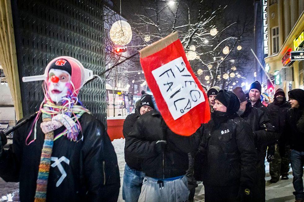 Prankster Clowns Protest Finland's Anti-Immigrant Street Patrols