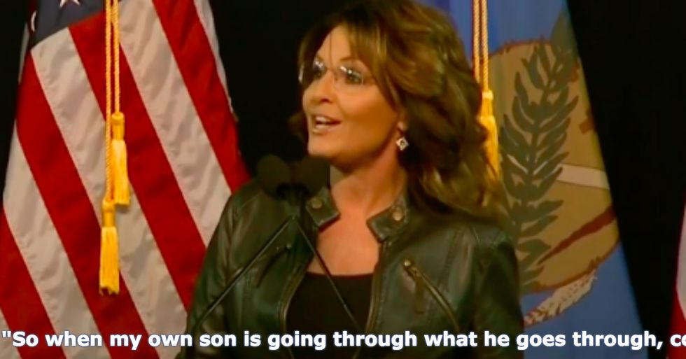 Sarah Palin Somehow Blames Her Son's Horrible Actions on Obama