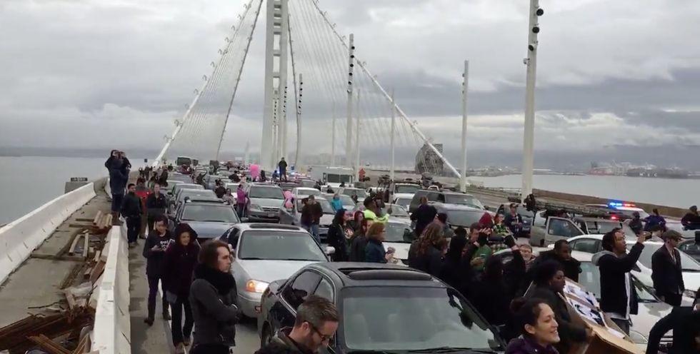 Black Lives Matter Protesters Block a San Francisco Bridge in MLK Day Protests