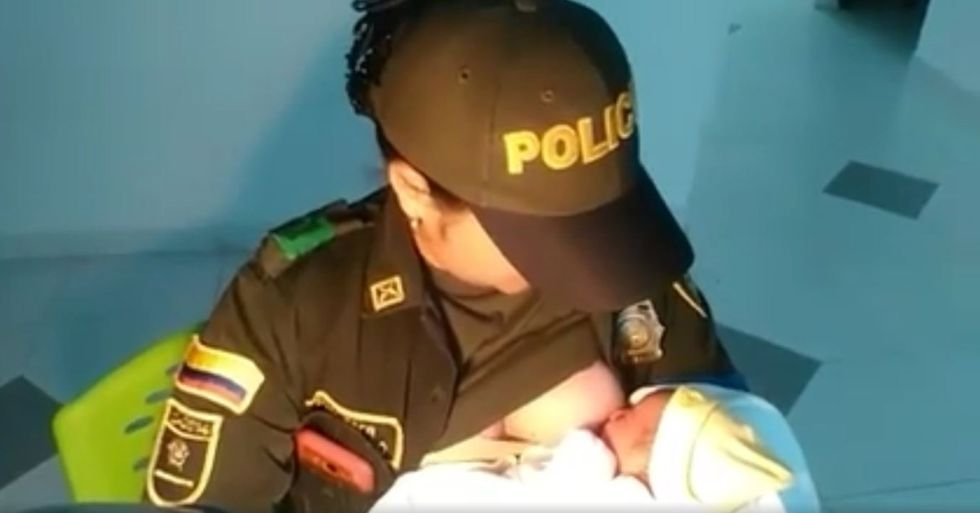 Colombian Police Officer Breastfeeds Abandoned Baby