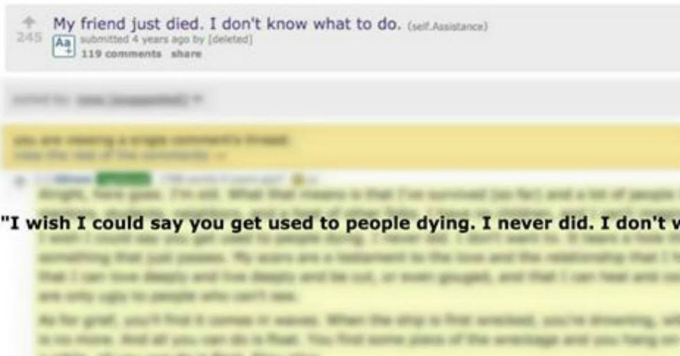 Response To Person Grieving For Friend Might Be Best Internet Comment Of All Time