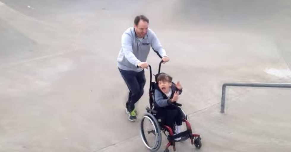 Father Takes His Son Who Has CP on a Thrilling Skate Park Ride