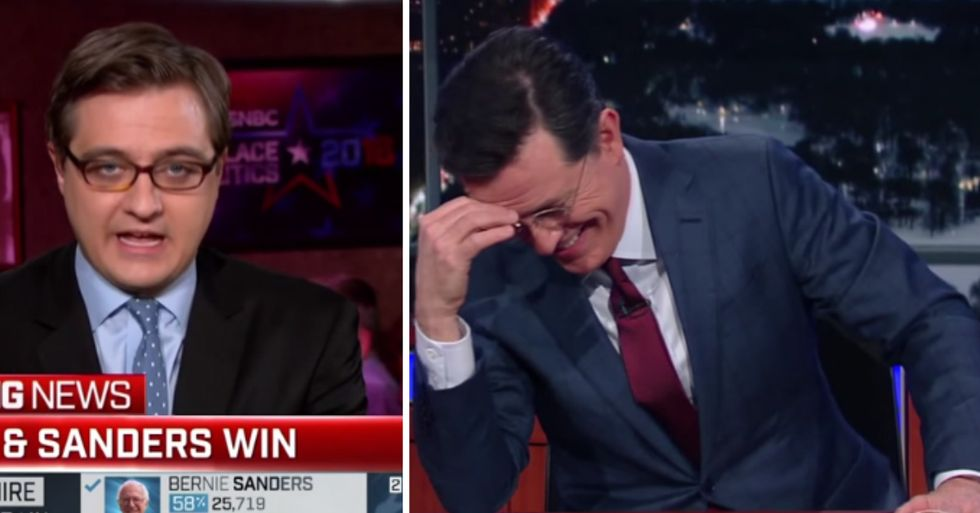 Colbert's Hilarious Response to Anchor's Strange Bernie Sanders Mistake