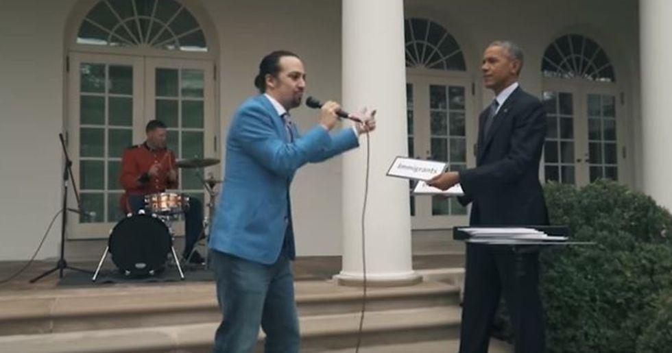 Hamilton Creator Lin-Manuel Miranda Freestyles With the President