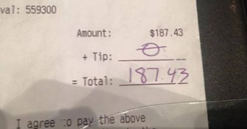 Server's response to getting a $0 tip is something everyone should see
