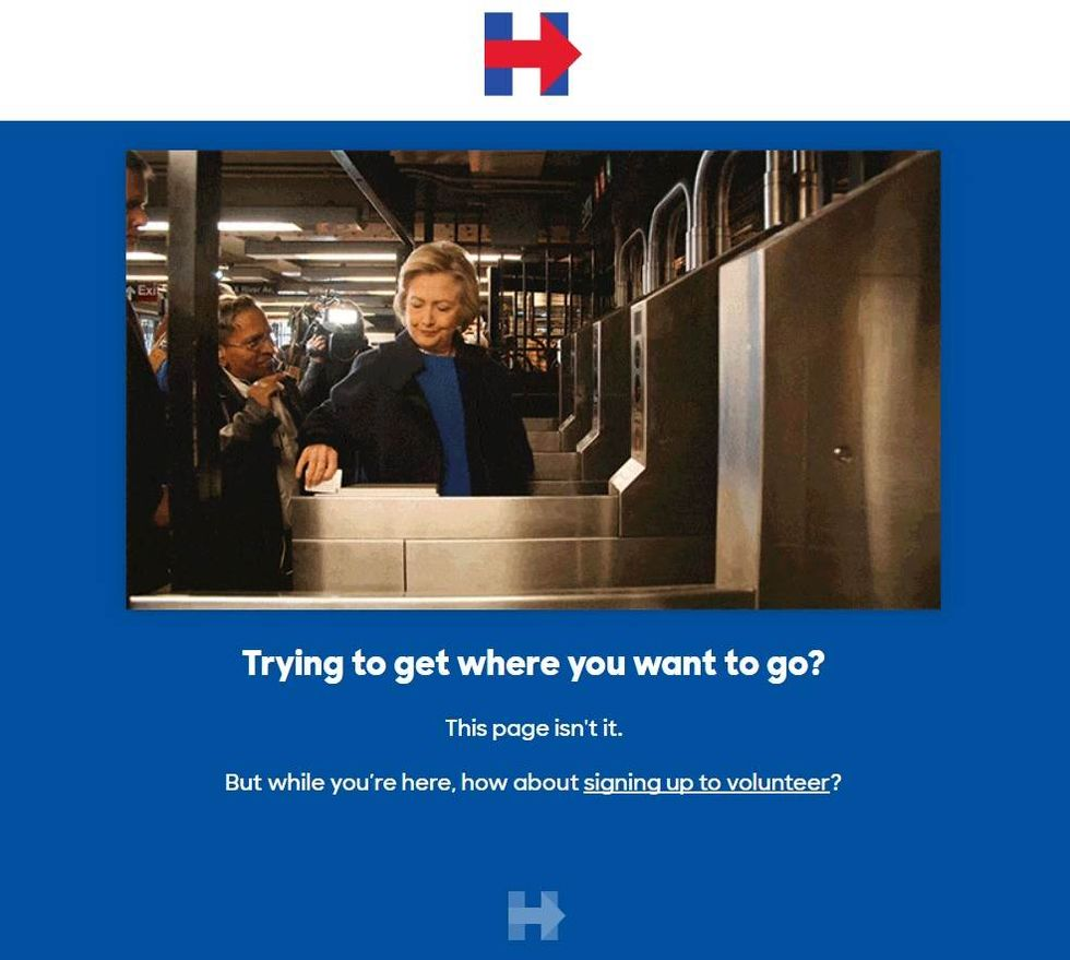 Hillary Clinton's New 404 Message Proves her Marketing Team is Hysterical