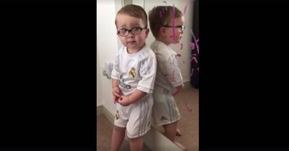 After Getting Caught Drawing On A Mirror, Cute Two-Year-Old Blames Batman