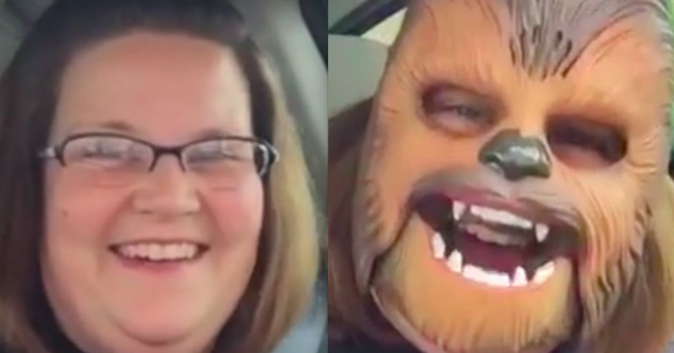 Woman Can't Stop Laughing Hysterically In Her New Chewbacca Mask