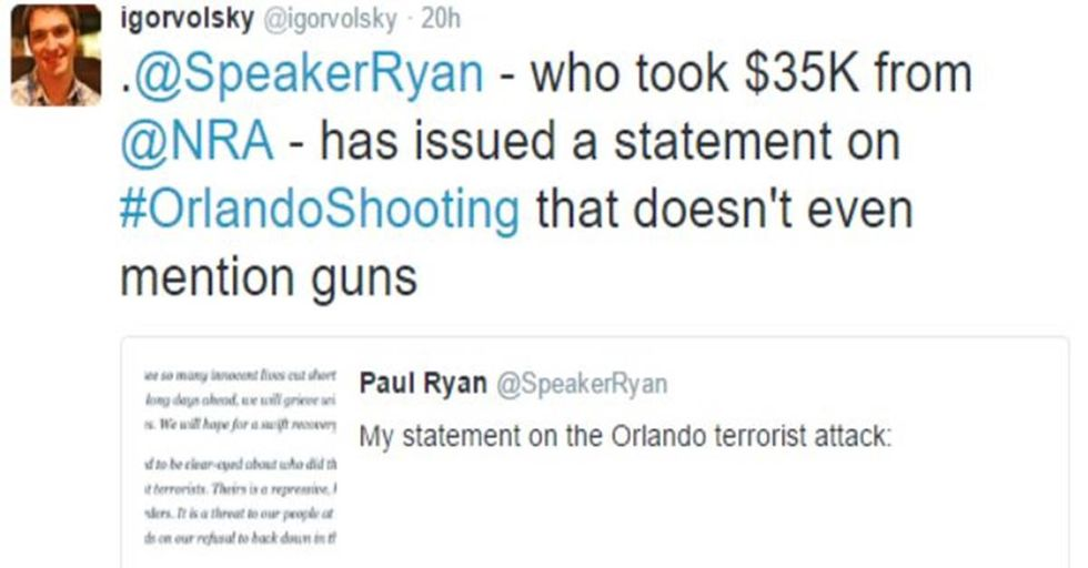 Twitter User Shames NRA-Bought Politicians Whose 'Thoughts and Prayers' Are With the Victims