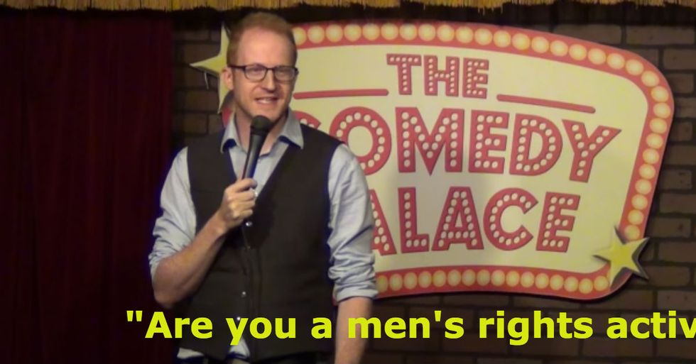 Sexist heckler gets humiliated in front of his own daughters.