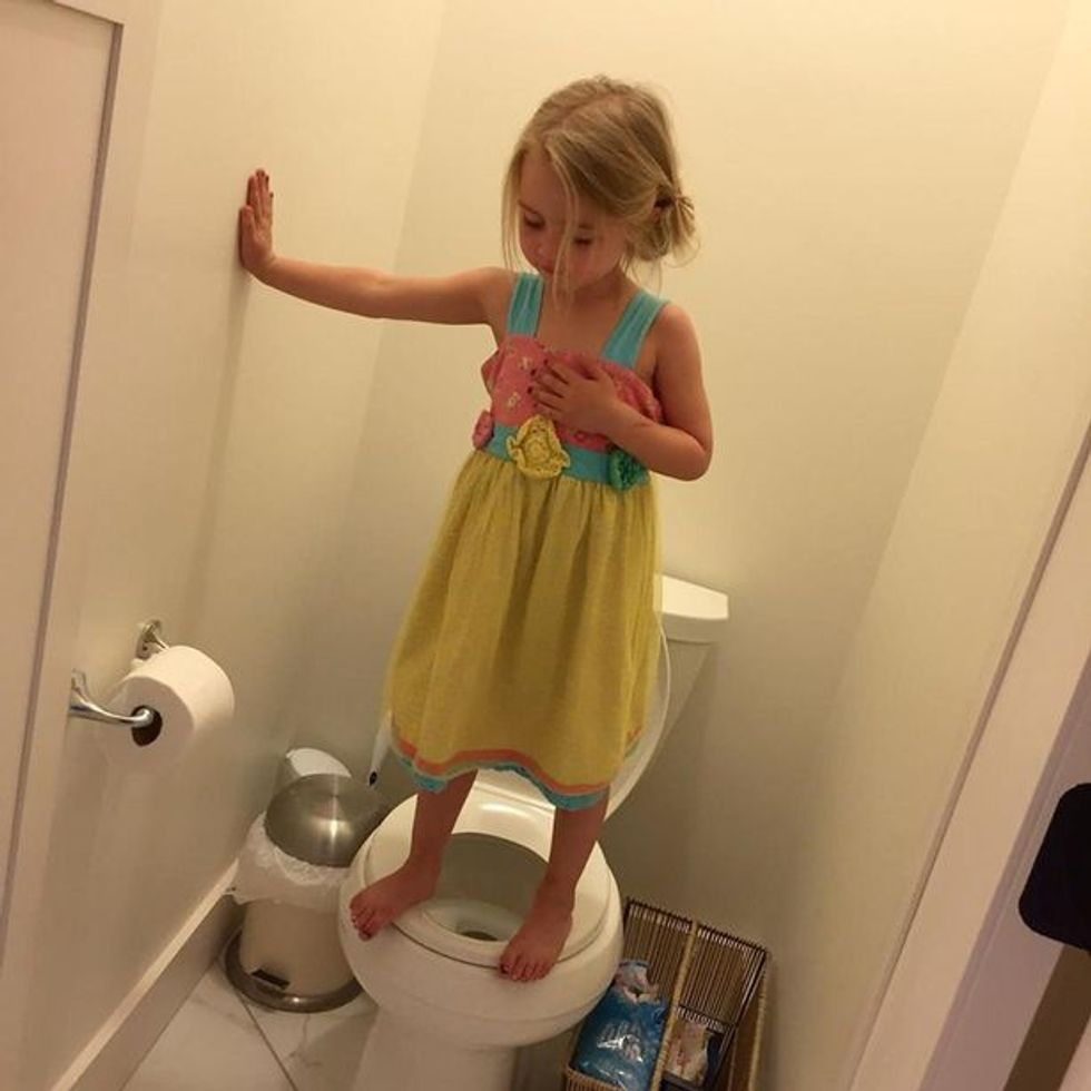Mom breaks down realizing her daughter was practicing lockdown drill in 'cute' bathroom picture.