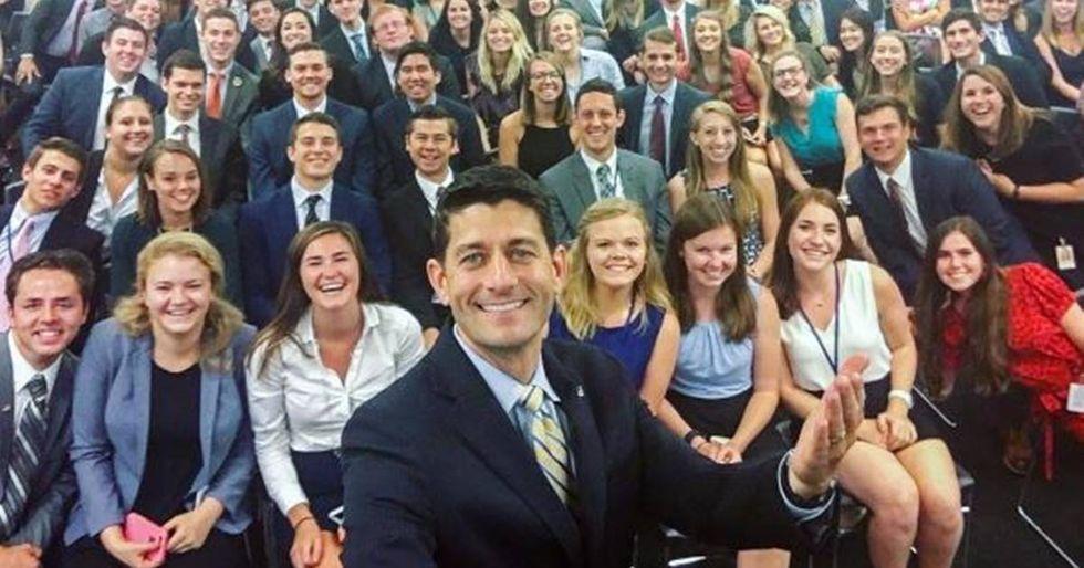 Paul Ryan Proves #GOPSoWhite With Intern Selfie