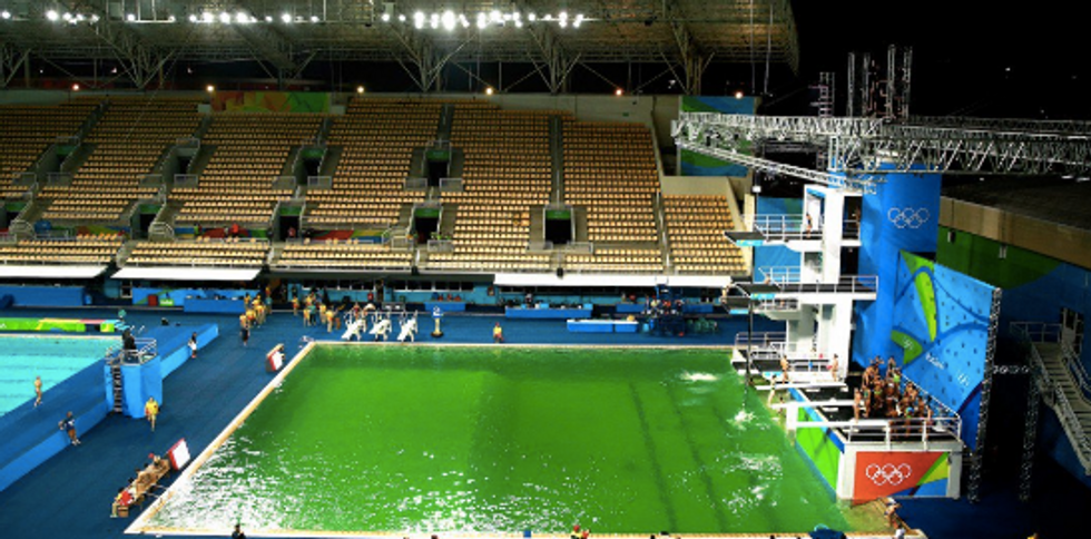 Are Pranksters Turning The Olympic Diving Pool Green?
