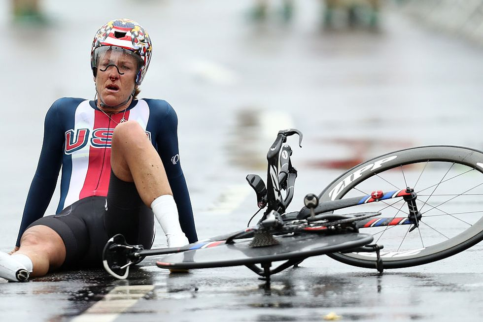 Right After Making History, U.S. Cyclist Collapses