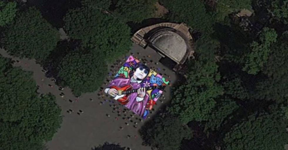 Artist Unveils a 2500-Square-Foot John Lennon Painting For International Peace Day