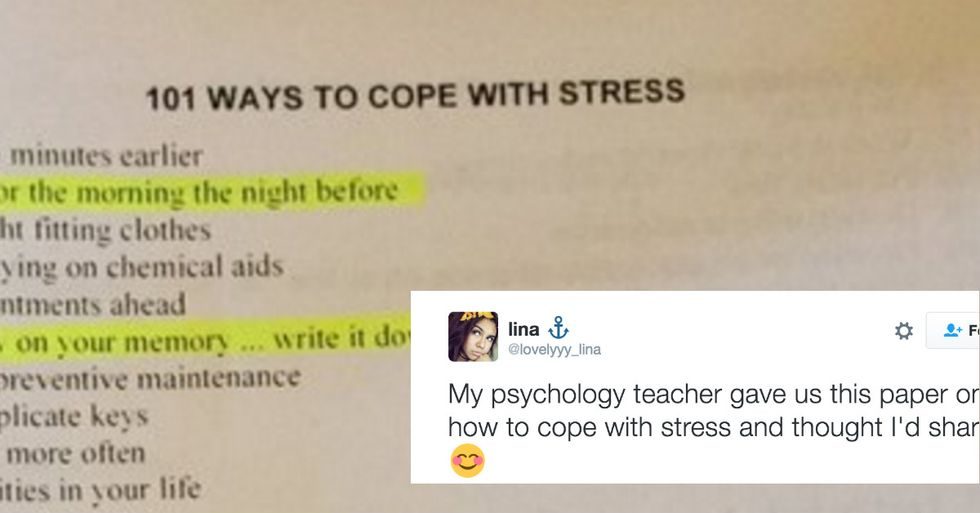 Teacher's List Of 101 Ways To Deal With Stress Is Going Viral