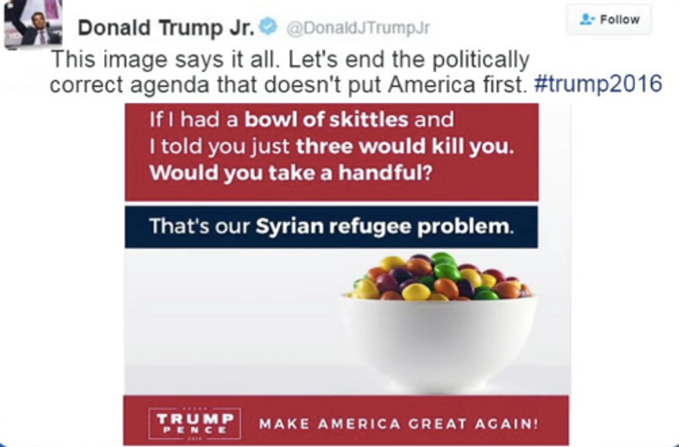 Donald Trump Jr. Just Compared The Refugee Crisis To Skittles