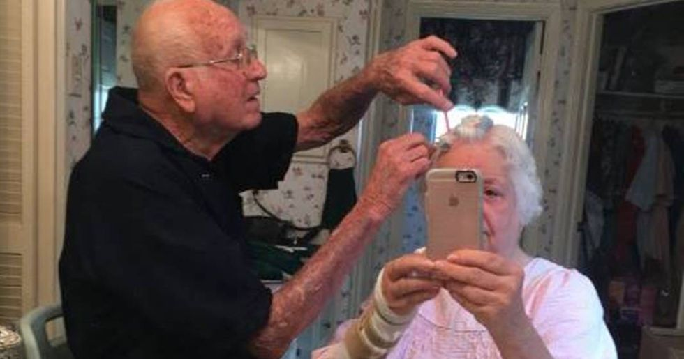 Grandpa Plays Hairdresser In Grandma's Sweet Selfie