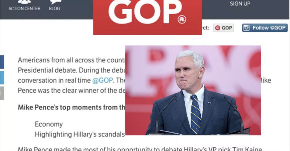 Genius Republican Party Accidentally Congratulates Pence And Trump On Winning Debate That Hasn't Happened Yet