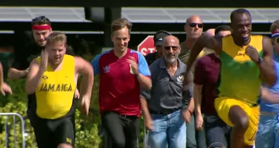 Talk Show Host Takes On The Fastest Man In The World