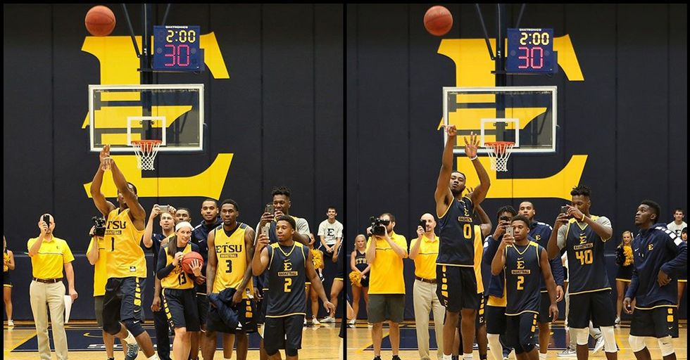 College Players Hit Back-To-Back Half-Court Shots, Winning Free Tution For Students