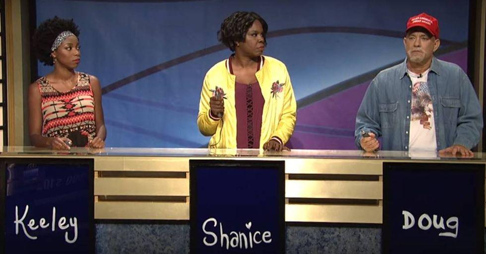 Tom Hanks Portrays A Trump Supporter On 'SNL's''Black Jeopardy'