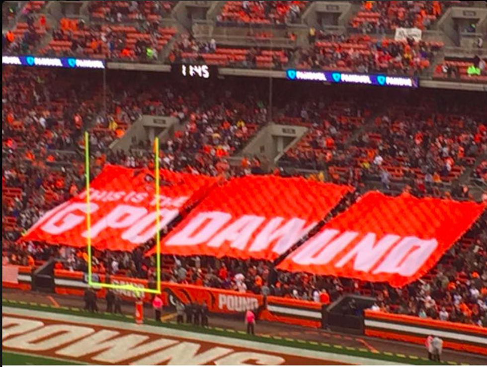 Cleveland Fans Unfurl Giant Banner That Misspells Team's Iconic Nickname