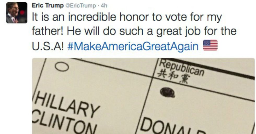 Eric Trump Just Broke The Law In The Voting Booth. Don't Make The Same Mistake.