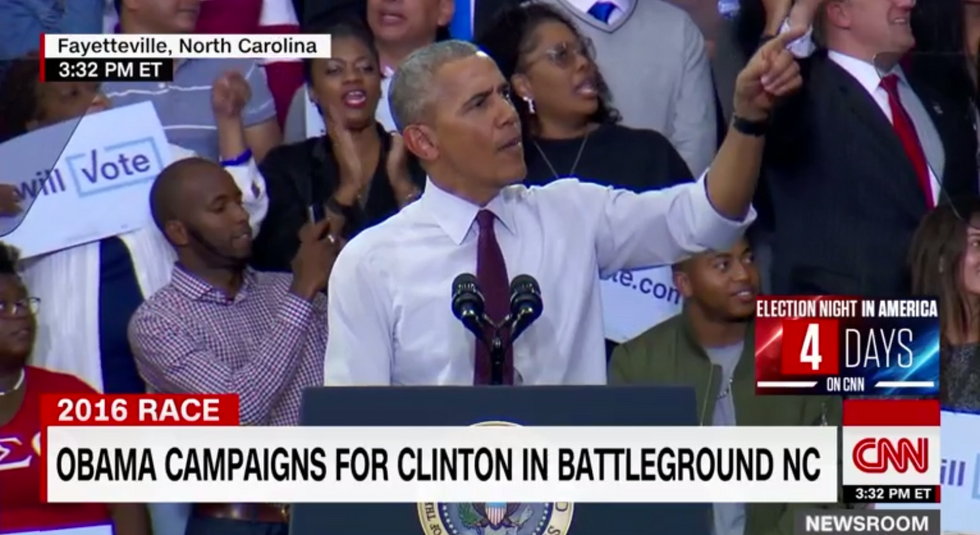 President Obama Calms Crowd After Trump Heckler Disrupts Speech