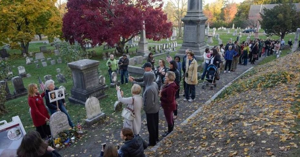 Voters Commemorate A Historic Election Day At Susan B. Anthony's Grave