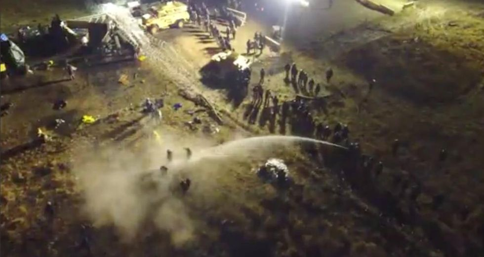 Law Enforcement Turn Water Cannons, Use Tear Gas And Rubber Bullets On Protesters At Standing Rock