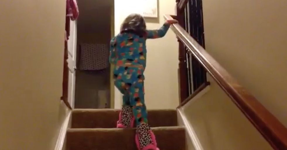 Watch As This 5-Year-Old Cancer Fighter Refuses To Let Her Dad Carry Her Up The Stairs