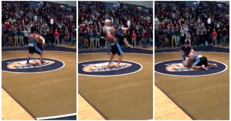 HS Wrestler Takes On His Headmaster For Charity...And Shows No Mercy
