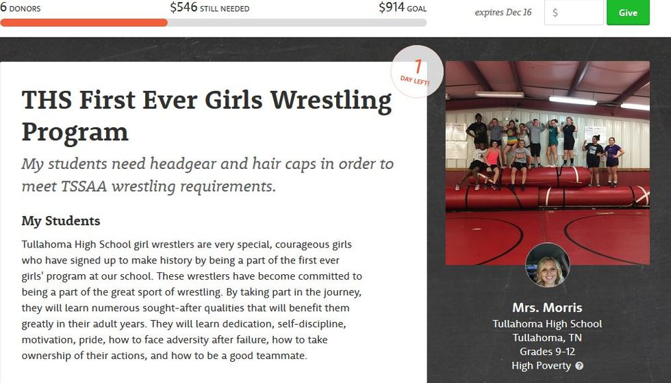 Worthy Cause Countdown: This School Needs $546 For Its First-Ever Girls' Wrestling Team [UPDATED]