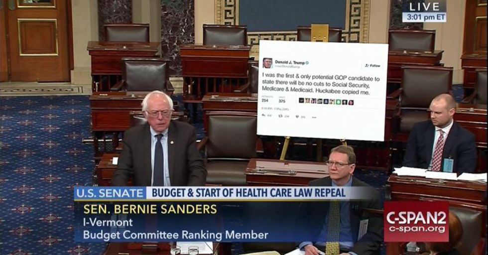 Bernie Sanders Took To The Senate Floor With A Tweet From Trump Printed For All To See