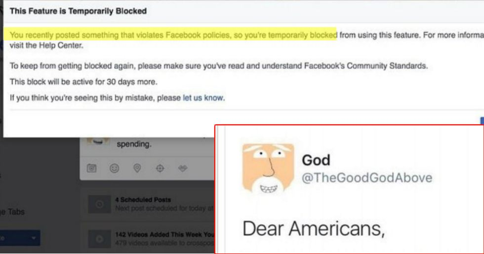 God Banned By Facebook For Wanting Healthcare and Education