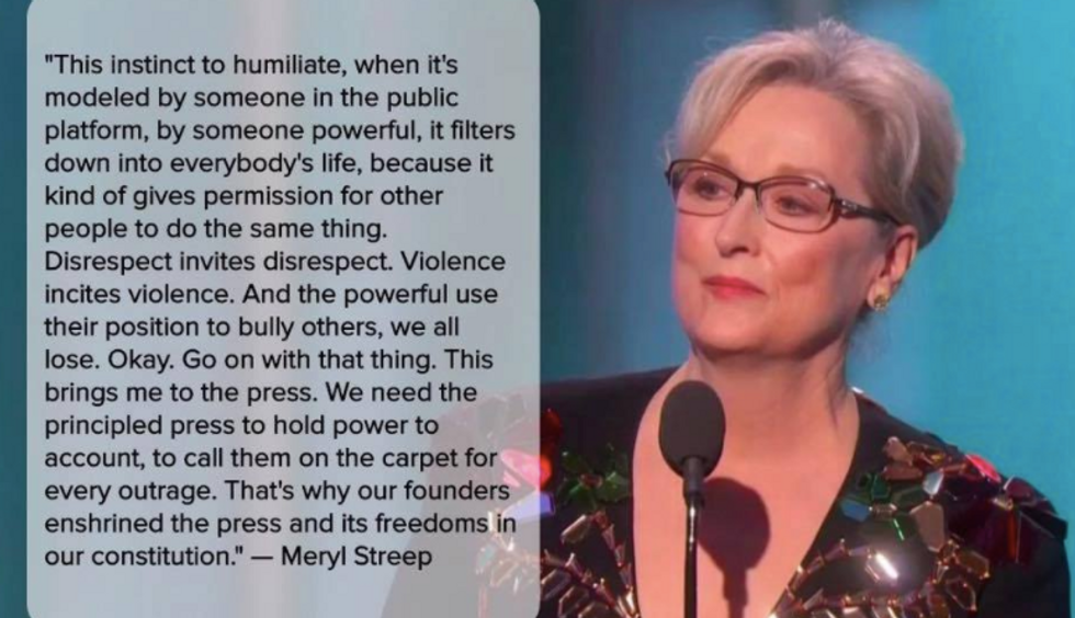 Meryl Streep Took Donald Trump To Task In Golden Globes Speech