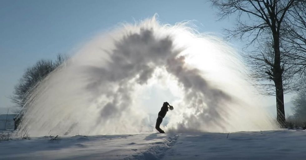 Tossing Boiling Water Into Freezing Air Creates This BeautifullyFamiliar Phenomenon
