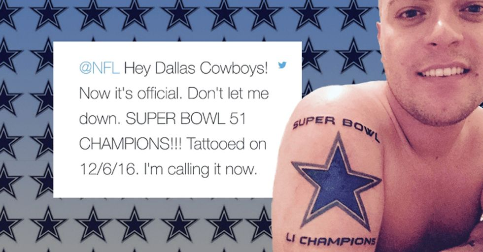 Cowboys Fan Learns The Obvious Lesson Of Why You Don't Get A 'Super Bowl Champions' Tattoo Mid-Playoffs
