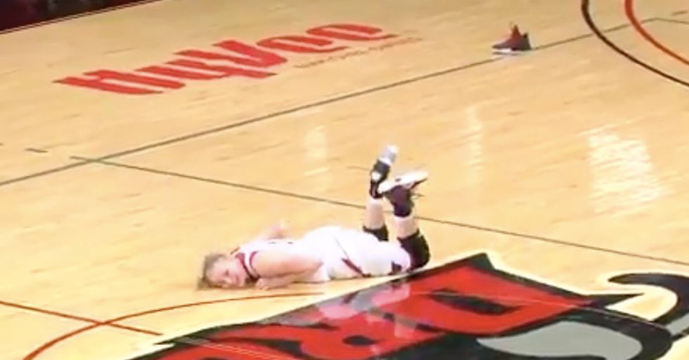 This Basketball Player Just Can't Stop Falling Over After Losing Her Shoe During Play