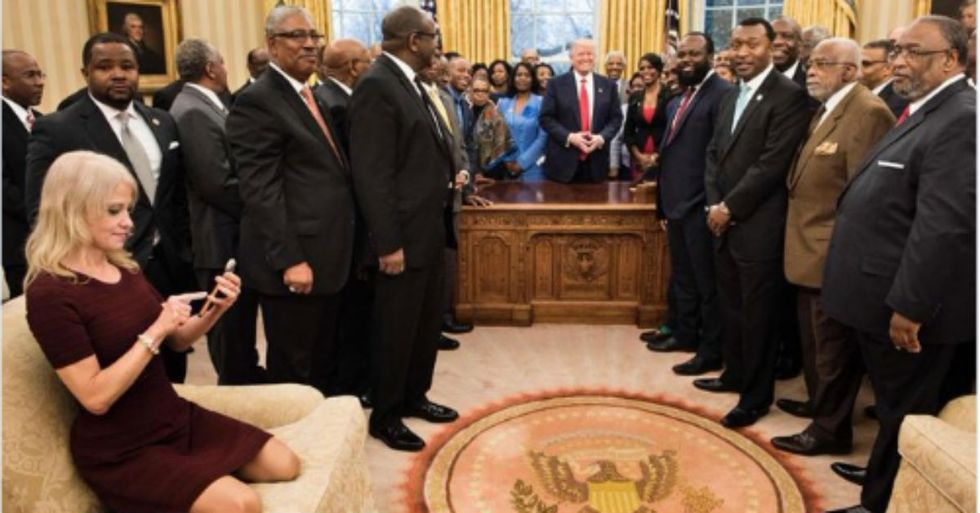 Photo Of Kellyanne Conway Kneeling In Oval Office Takes On Bizarre Life Of Its Own