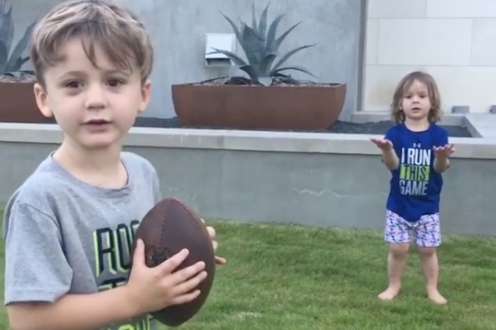 Tony Romo's Kids Adorably Show Off Their Football Skills