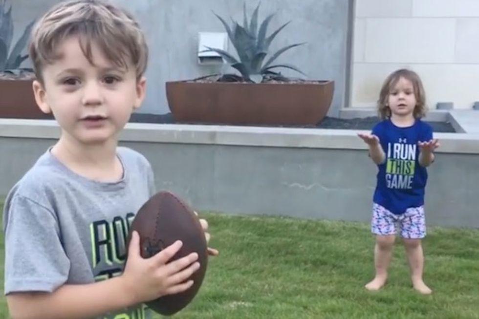 Tony Romo's Kids Adorably Show Off Their Football Skills