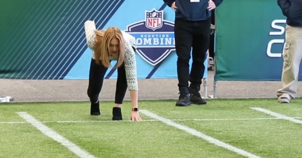 Random Act Of Sport: NFL Reporter Runs 40-Yard Dash While Wearing Heels